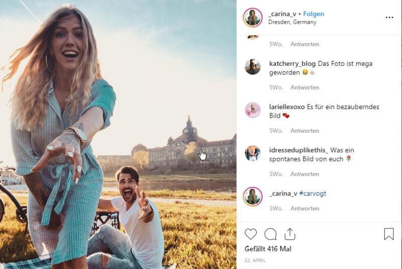 Instagram Beitrag Carina Vogt © Carina & Dinis